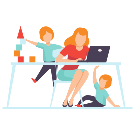 Children can be distracting while working from home and homeschooling, making remote work tough