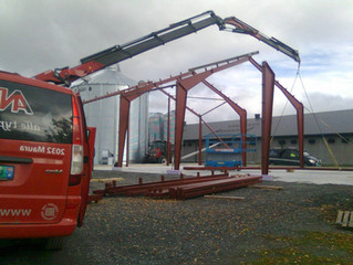 Stålkonstruksjonen snart på plass på Kolbu