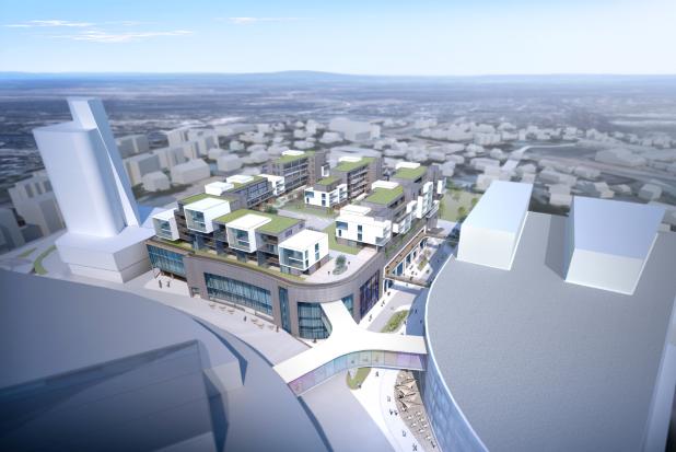 M-16 Akershus Vaktselskap skal utføre vaktholdet på det nye byggeprosjektet som Skanska bygger midt