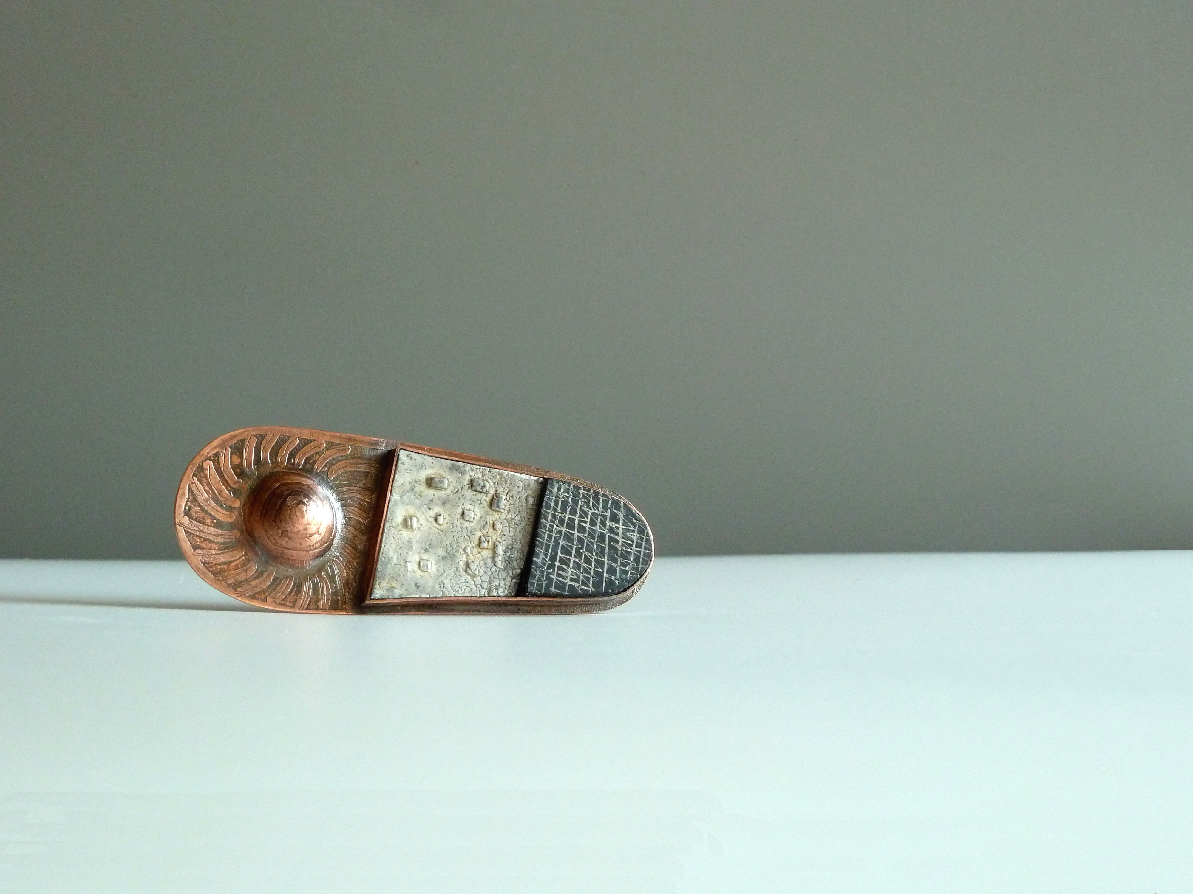 Copper Brooch with Polymer Clay
