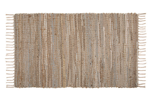 Leather & Jute Recycle Rug - Natural - Large 120cm x 180cm