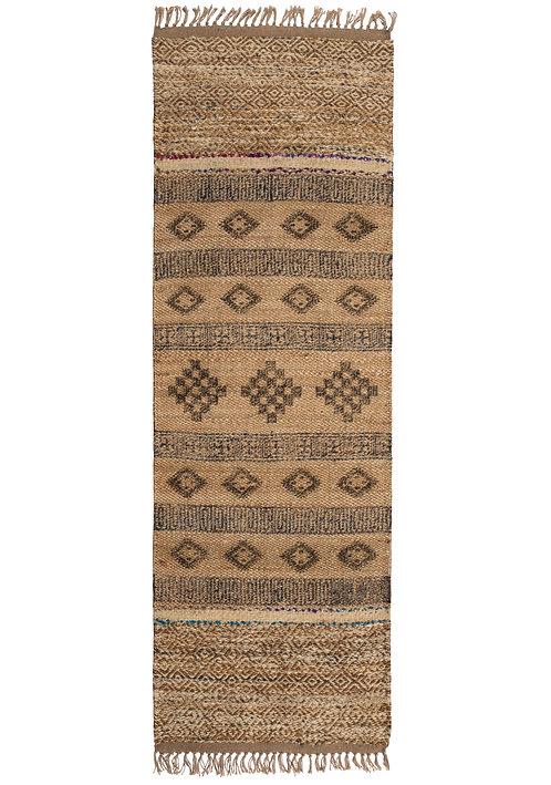 Block print Jute Rug with Wool and Recycled Sari 75 x 240cm