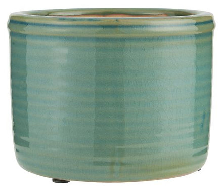 Green Glazed Pot with Grooves