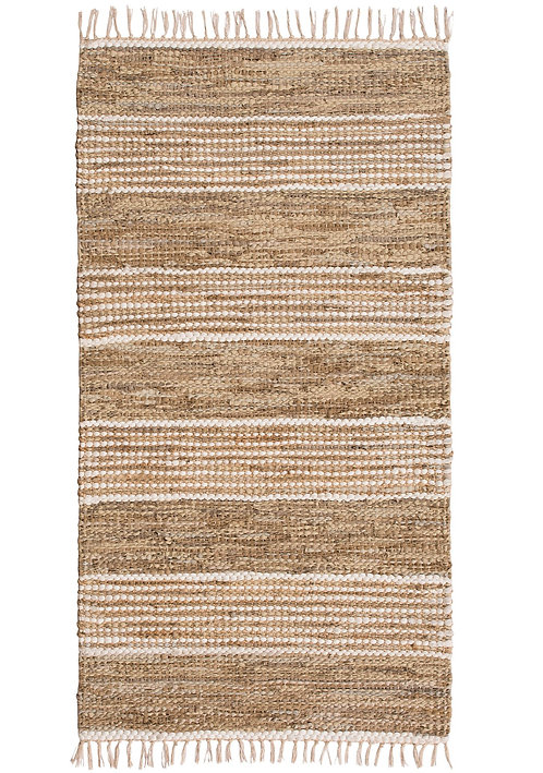 Taj Recycled Leather and Jute Rug 75x120cm