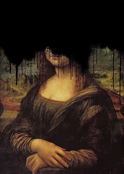 Drippy Mona Lisa Black Graffiti Print  - Matte