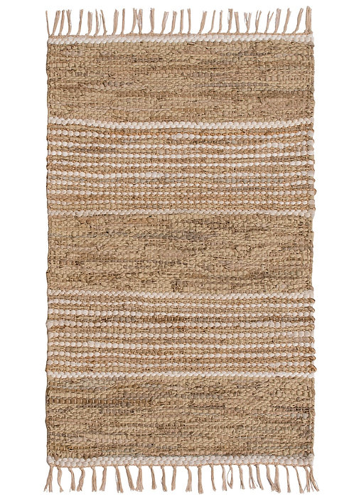 Taj Recycled Leather and Jute Rug 60 x 90cm