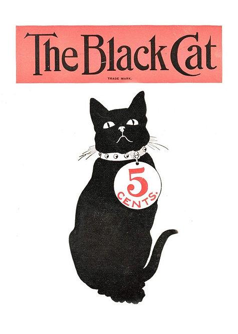 Black Cat Vintage Halloween Art Print 21cm x 30cm Matte