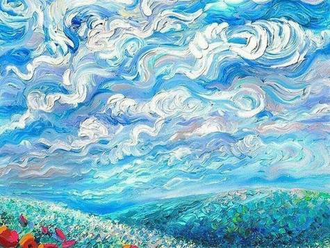 """24.02. """"Летний пейзаж"""", живопись пальцами"""