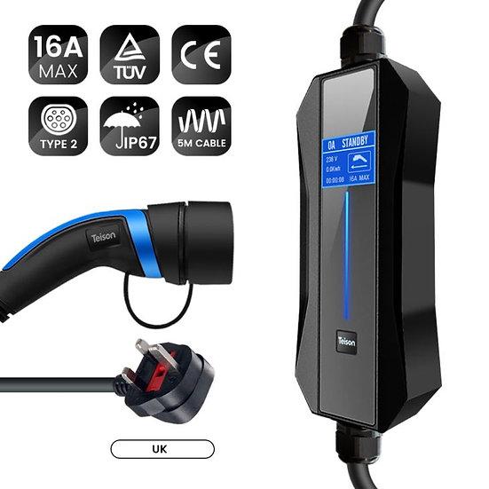 Teison 16 Amp Portable PRO Ev Charger Type2 (13 amp UK Plug)