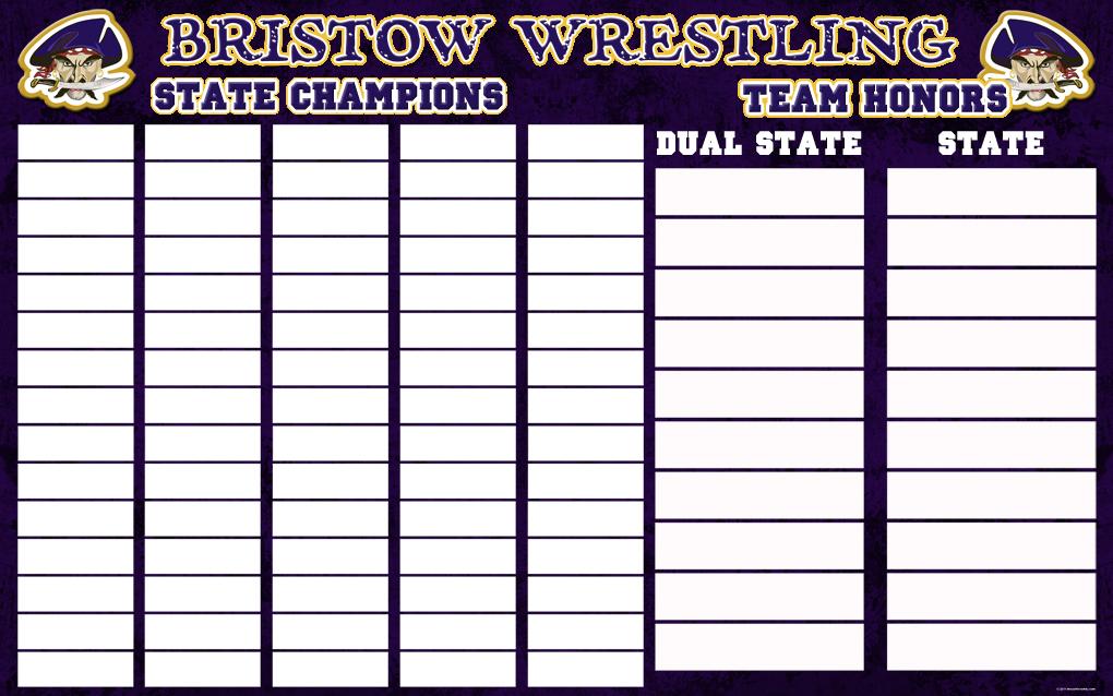 Bristow Wrestling Champions board 2 5x8