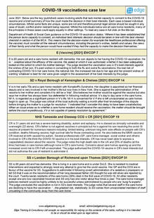 Covid 19 vaccinations case law sheet