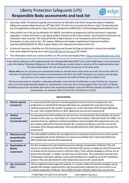 LPS Responsible Body tasks and assessments