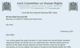 The right to visit care homes and mental health hospitals