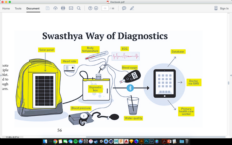 A kit developed by an Indian Entrepreneur for remote areas to run a variety of diagnostic tests using multiple device connected to one 'hub' that connects to any tablet. This helps skip an extra visit to the doctor. It is planned to be introduce to the National health rural scheme through Asha workers.