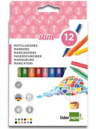 Feutre coloriage liderpapel étui carton 12 unités.