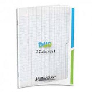Cahier agrafé conquérant duo 2en1 polypropylène  17x22cm 96 pages séyès 90g