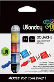 Gouache   boite 5 tubes 10ml. couleur primaire