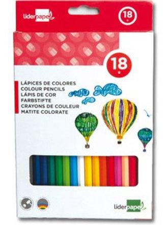 Crayon couleur liderpapel coloris intenses étui carton plastifié 18 unités.