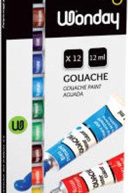 Gouache, étui carton de 12 tubes de 12 ml