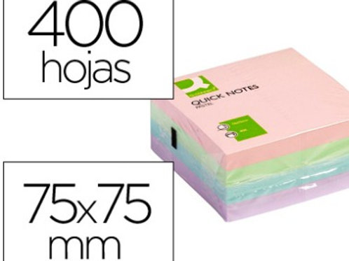Bloc-notes  cube  76x76mm 400f repositionnables coul pastel