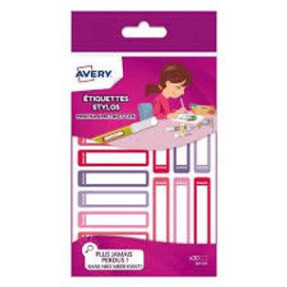 Étiquettes pour identifier matériel scolaire coloris rose