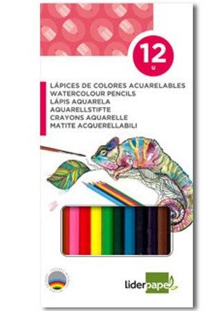 Crayon couleur liderpapel aquarellable coloris assortis étui carton 12 unités.