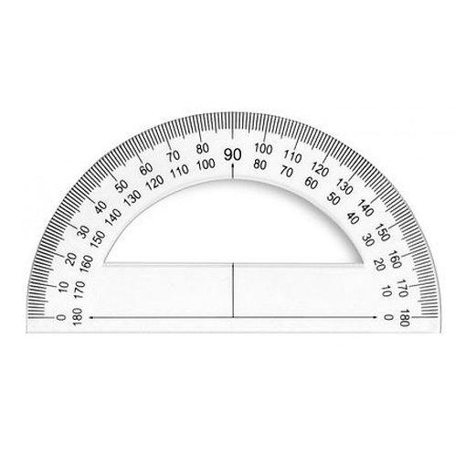 Rapporteur jpc 180 degrés base 12cm cristal.