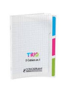 Cahier agrafé conquérant trio 3en1 polypropylène  24x32cm 96 pages séyès 90g.