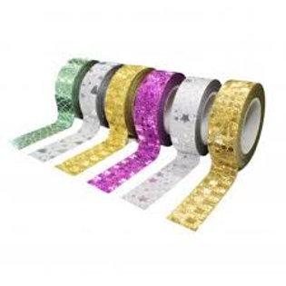 Rubans adhésifs thèmes glitter deco 15 mm x 10 ml 6 pcs.