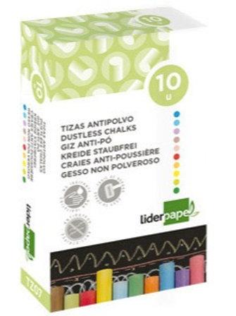 écriture Craie douce hypoallergénique coloris assortis bte 10 unités.