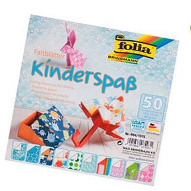 Feuille papier  pliage 80g/m2 150x150mm pour enfants 10 motifs assortis paq