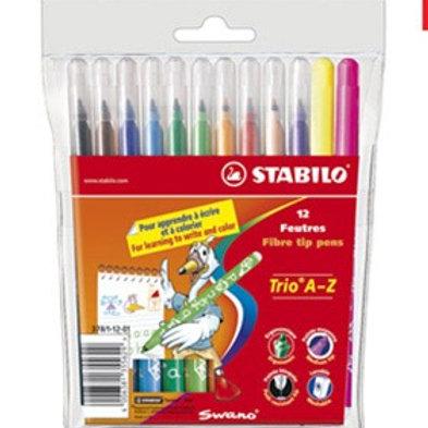 Feutre coloriage stabilo trio  pochette 12 unités + 2 fluos.