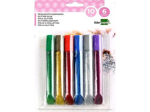 Colle pailletée  coloris assortis métallisés blister 6 unités 10g.