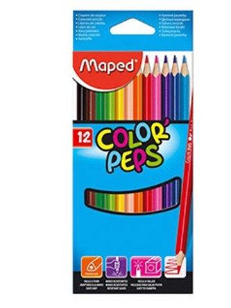 Crayon couleur maped color pep's triangulaire étui carton 12u.