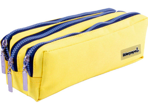 Trousse large rectangulaire 3 compartiments jaune