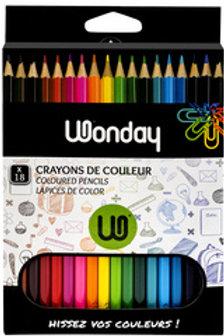 Etui carton 18 Crayons couleurs