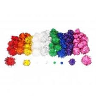 Pompons metallises  200 pcs 3 tailles 9 coloris.