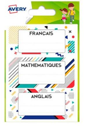 Étiquette avery matières scolaires graphiques 76x34mm  15 unités.