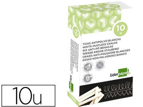 écriture Craie douce hypoallergénique coloris blanc boîte 10 unités.