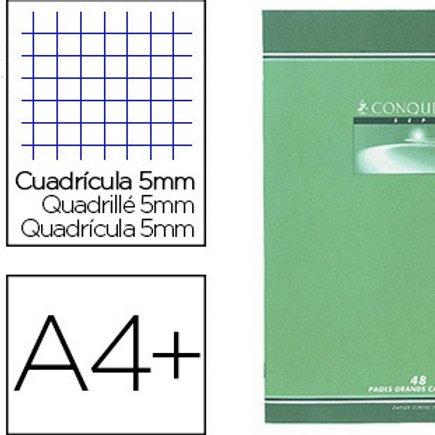 Cahier piqué conquérant  a4+ 24x32cm 96 pages 70g 5x5mm.