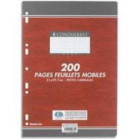 Feuillet mobile  210x297mm 200 pages 90g grands carreaux
