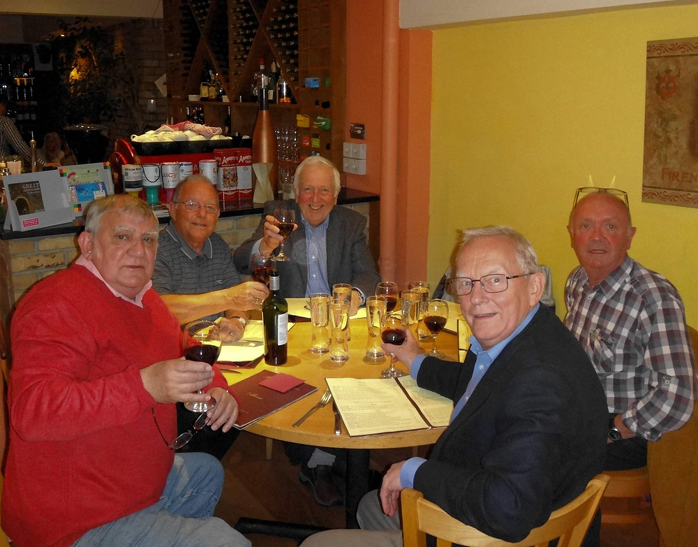 Six members of the Lodge attending the final meet the brewer evening at the Two Cocks Brewery near Newbury