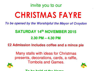 Christmas Fayre at James Terry Court Saturday 14th November 2015