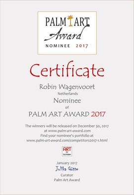 Certificate Nominated Palm Art Award 2017
