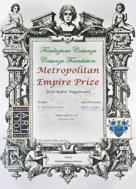 Certificate Metropolitan Empire Prize