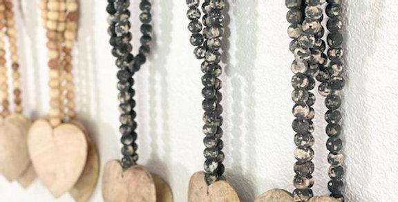 rustic heart bead strand