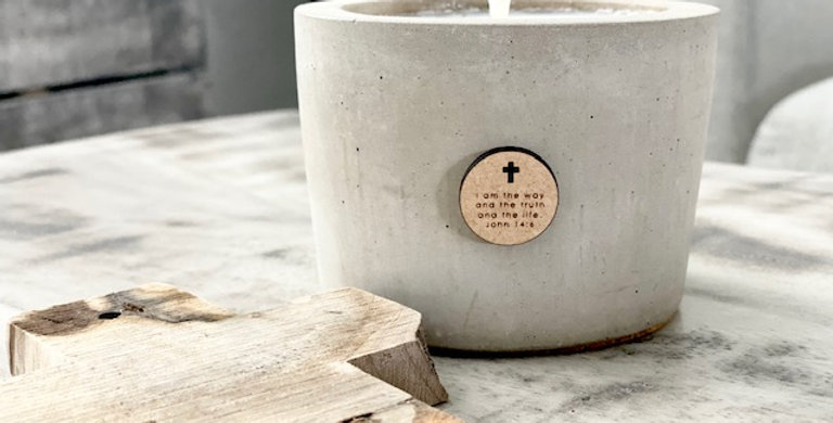 Personalized Concrete candle