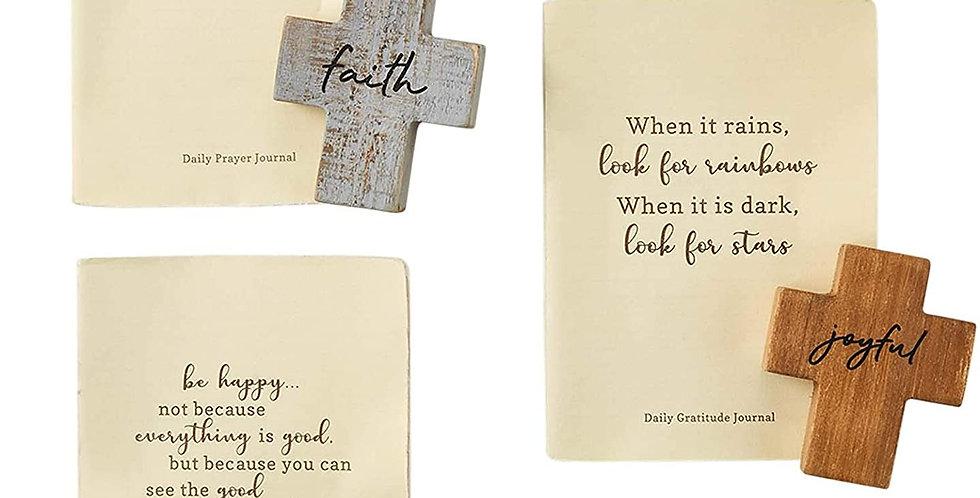 gratitude journal and wood cross set