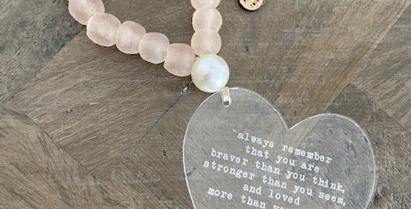 recycled glass blush beads with acrylic quote heart