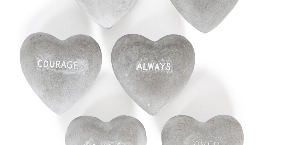 solid cement hearts
